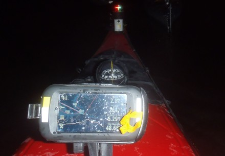Navigating by GPS in the dark.