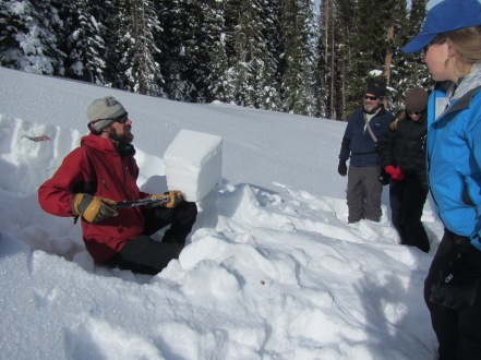 I did an Avalanche training course over the winter. Max Forgensi, the local avalanche forecaster, is explaining stability tests to the class.
