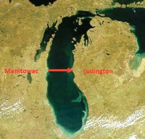 The paddling route from Wisconsin to Michigan.