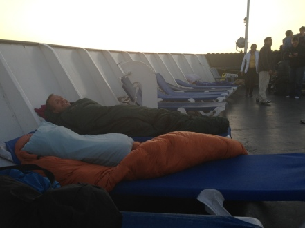 Attempting sleep on the deck of the SS Badger.